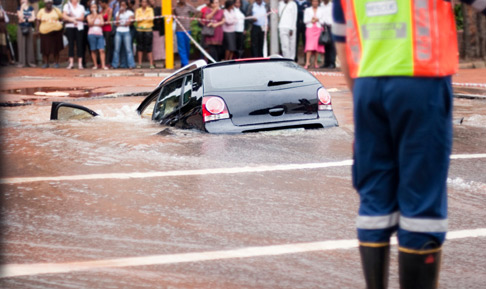 A car submerged in several feet of water